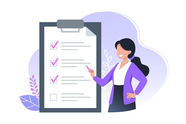 Projekt transparentu listy rzeczy do zrobienia, dziewczyna trzyma ołówek i zauważa wykonane zadania na czas, koncepcja zarządzania czasem