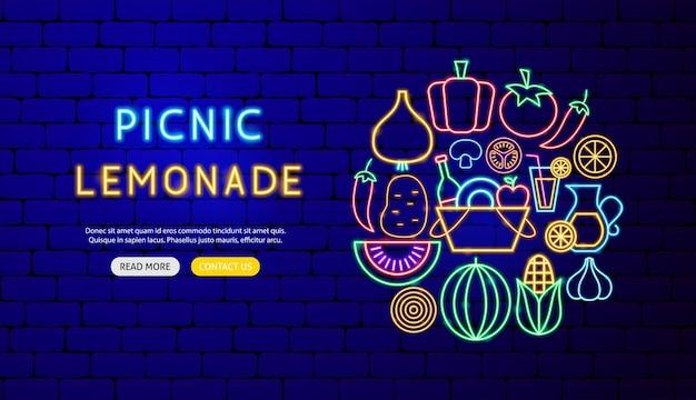 Projekt transparentu neonowego lemoniady piknikowej. ilustracja wektorowa promocji żywności.