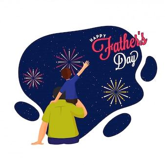 Projekt transparentu obchodów dnia ojca szczęśliwego z synem na ramieniu ojca.