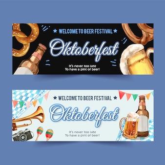 Projekt transparentu oktoberfest z preclem, piwem, instrumentami muzycznymi