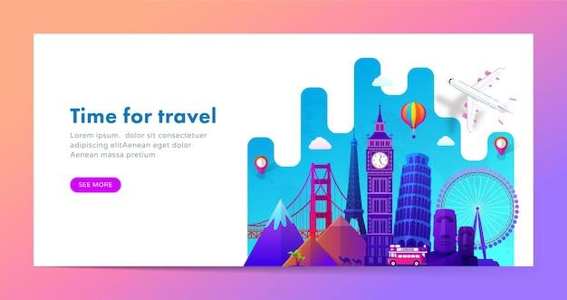 Projekt transparentu podróży ze słynnymi zabytkami w nowoczesnym stylu gradientu dla witryny podróżniczej lub turystycznej.