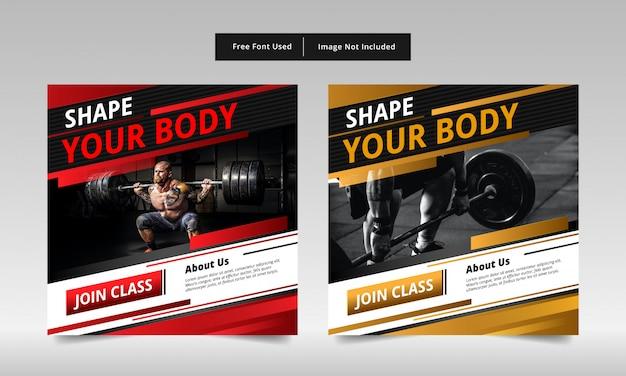 Projekt transparentu postu fitness, czerwony i żółty.