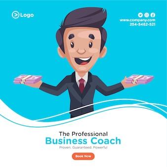 Projekt transparentu profesjonalnego trenera biznesu, trzymając pieniądze w obu rękach.