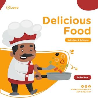 Projekt transparentu pyszne jedzenie z szefem kuchni gotującym jedzenie na patelni