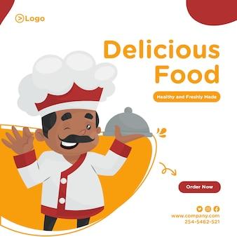 Projekt transparentu pyszne jedzenie z szefem kuchni, trzymając w ręku talerz cloche