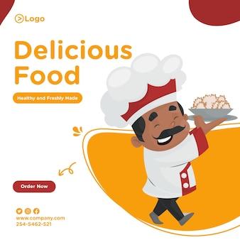 Projekt transparentu pyszne jedzenie z szefem kuchni, trzymając w ręku talerz żywności