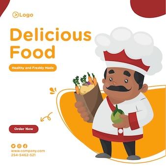 Projekt transparentu pyszne jedzenie z szefem kuchni, trzymając w ręku worek warzyw