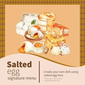 Projekt transparentu solone jaja z naleśnikiem, toast akwarela ilustracja.