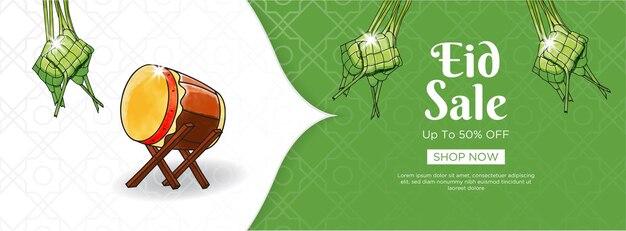 Projekt transparentu sprzedaży eid z zielonym tłem