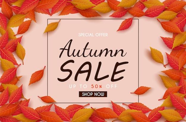 Projekt transparentu sprzedaży jesiennej z kolorowych liści jesienią. i koncepcja reklamy jesiennej.