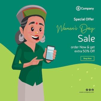 Projekt transparentu sprzedaży promocyjnej szczęśliwego dnia kobiet z kobietą pokazującą telefon komórkowy