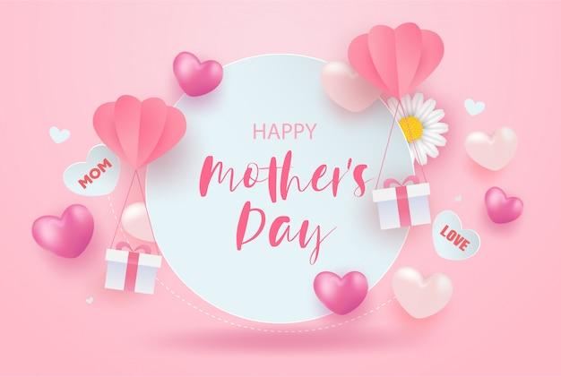 Projekt transparentu sprzedaży szczęśliwy dzień matki z realistyczne kwiaty, pudełka i serca na różowo.