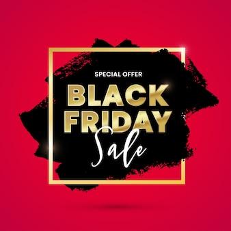 Projekt transparentu sprzedaży w czarny piątek z czarnym pociągnięciem pędzla i złotą ramą