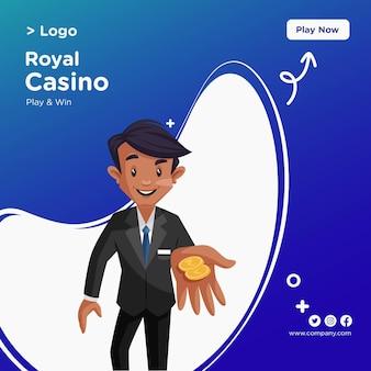 Projekt transparentu stylu cartoon royal casino