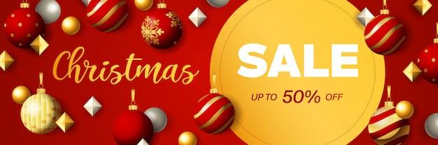 Projekt transparentu świątecznej sprzedaży z okrągłym etykiety zniżki