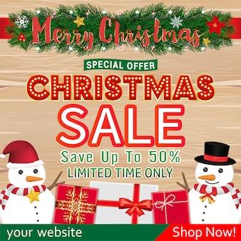 Projekt transparentu świątecznej sprzedaży z pudełkiem na prezent bałwana