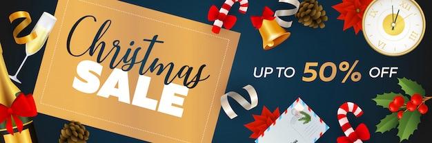 Projekt transparentu świątecznej sprzedaży z szampanem