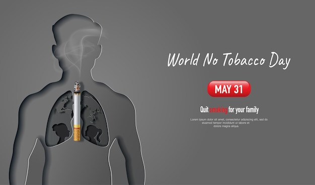 Projekt transparentu światowego dnia bez tytoniu człowiek z kształtem płuc