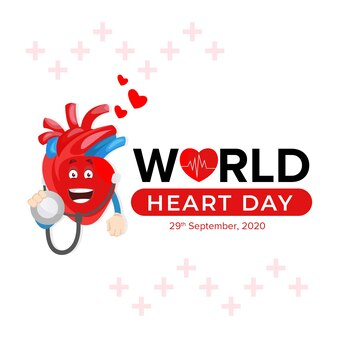 Projekt transparentu światowego dnia serca z charakterem serca