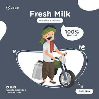 Projekt transparentu świeżego mleka mleczarza sprzedaje mleko na motocyklu.
