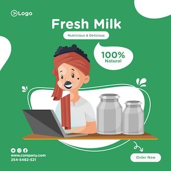 Projekt transparentu świeżego mleka z mleczarzem pracuje na laptopie.