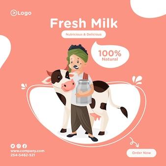 Projekt transparentu świeżego mleka z mleczarzem trzymając pojemnik i stojąc z krową.