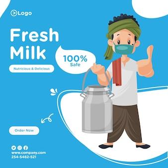 Projekt transparentu świeżego mleka z mleczarzem w masce i pokazując kciuk do góry.