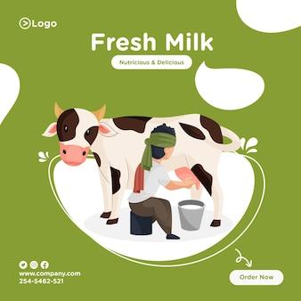 Projekt transparentu świeżego mleka z mleczarzem wydobywającym mleko od krowy w wiadrze.