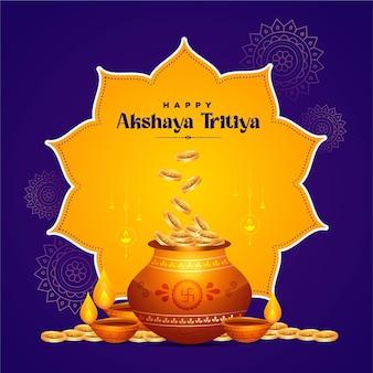 Projekt transparentu szczęśliwego szablonu festiwalu akshaya tritiya