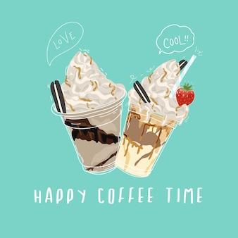 Projekt transparentu szczęśliwy czas kawy ze słodkim i ciętym stylu doodle