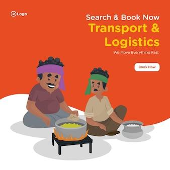 Projekt transparentu transportowo-logistycznego z kierowcą ciężarówki siedzi z mężczyzną i przygotowuje jedzenie na kuchence
