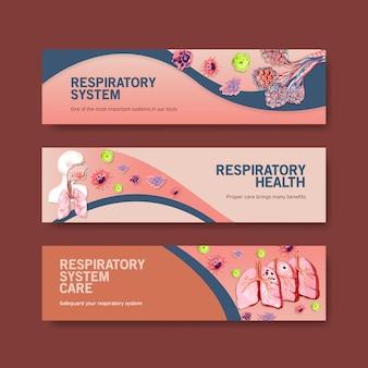 Projekt transparentu układu oddechowego z ludzką anatomią płuc