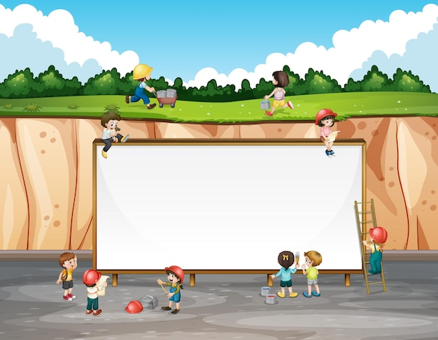 Projekt transparentu z dziećmi i klifem