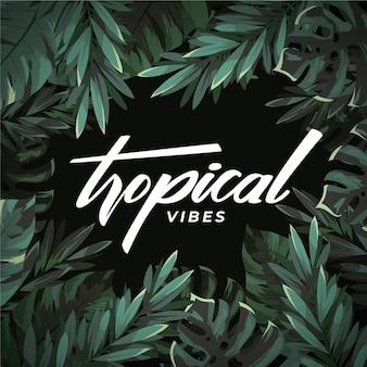 Projekt tropikalny napis z liści