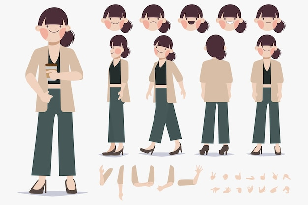 Projekt tworzenia postaci młodej kobiety dla płaskiej konstrukcji animacji kreskówki