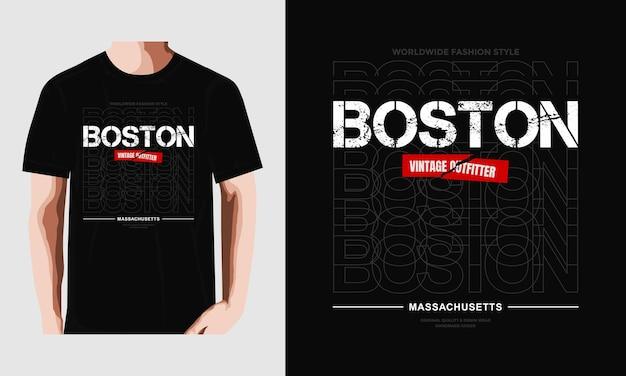 Projekt typografii boston t shirt premium wektor