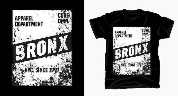 Projekt typografii bronx z teksturą na t-shirt