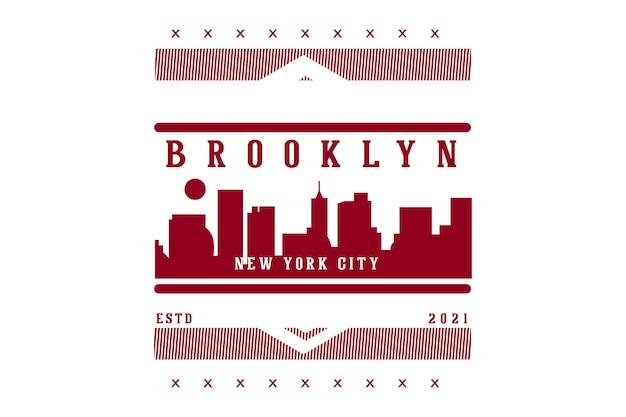 Projekt Typografii Brooklyn W Nowym Jorku Premium Wektorów