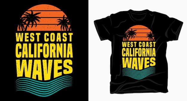 Projekt typografii fal zachodniego wybrzeża kalifornii na t shirt