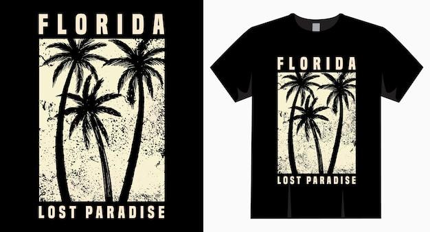 Projekt typografii florida lost paradise na t-shirt