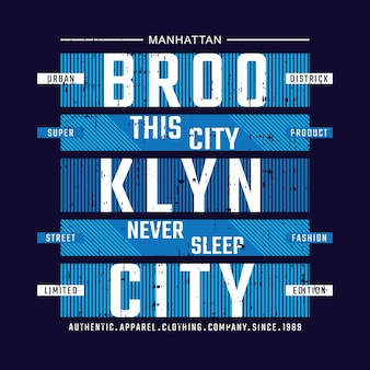 Projekt typografii koszulki brooklyn city