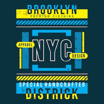 Projekt typografii koszulki brooklyn new york city