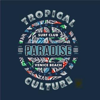 Projekt typografii kultury tropikalnej do drukowania grafiki t shirt