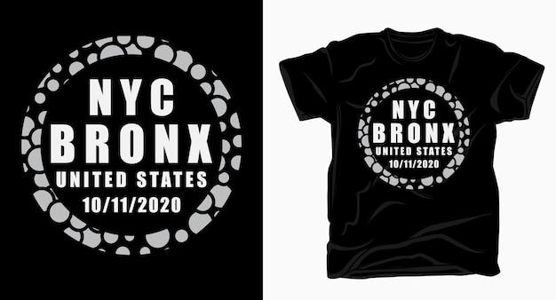 Projekt typografii nyc bronx na t-shirt