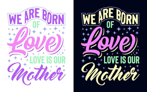Projekt typografii o matce do nadruku karty podarunkowej z nadrukiem tshirt