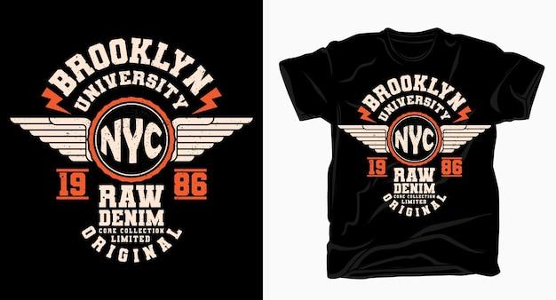 Projekt typografii uniwersytetu brooklyn nyc varsity na t-shirt