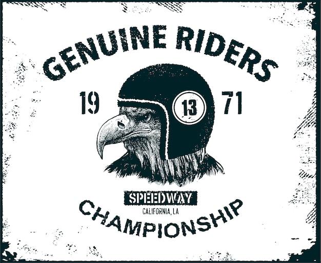 Projekt typografii vintage dla klubu motocyklowego.