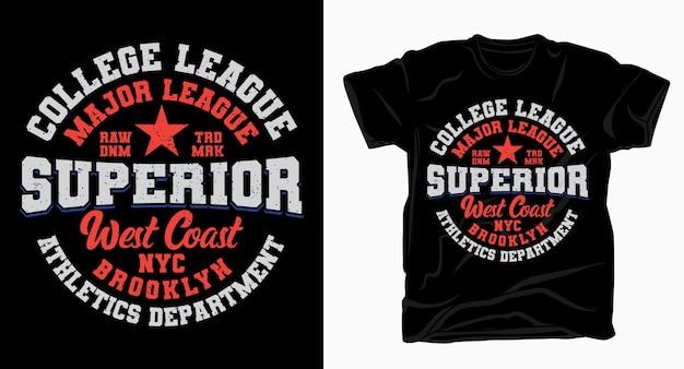 Projekt typografii wyższej uczelni wyższej uczelni dla t-shirtów