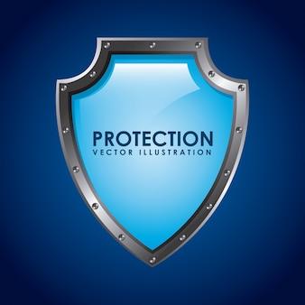 Projekt ubezpieczenia na niebieskim tle ilustracji wektorowych