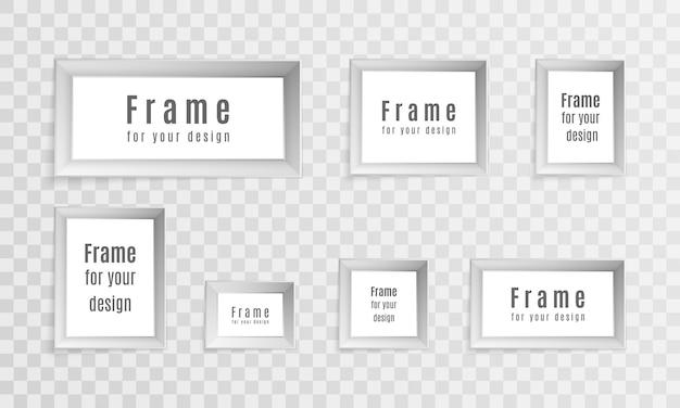Projekt układu ramki do zdjęć. zestaw vintage realistyczne ramki na białym tle na przezroczystym tle. idealny do prezentacji. ilustracja,.